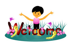 Welcome word. Little boy and caterpillar welcome illustration vector illustration