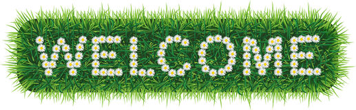 WELCOME word made of daisies on grass background. Vector WELCOME word made of daisies on grass background Stock Images