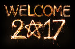 Welcome 2017. Word made from sparkler firework light Stock Images