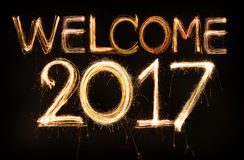 Welcome 2017. Word made from sparkler firework light Royalty Free Stock Images