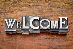 Welcome word in metal type Stock Photos