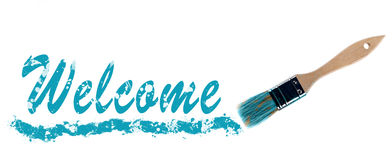 Welcome word painted and brush Stock Images