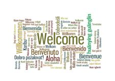 Welcome Word Tag Cloud In Many Languages Stock Photos