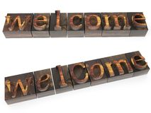 Welcome word in wood type Stock Photo