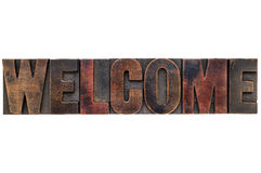 Welcome word in wood type Royalty Free Stock Photo
