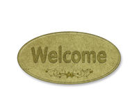 Welcome word on wooden recycle. Welcome recycle wood that is on the oval Royalty Free Stock Images