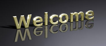 Welcome. Word Welcome written in gold Stock Illustration