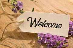 Welcome. Word written on a Looking card on wood stock image