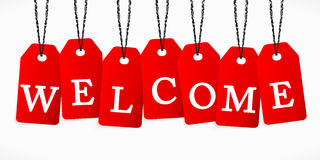 Welcome. The word welcome written with tag labels Stock Image