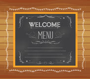 Welcome written on chalkboard Stock Photos
