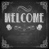 Welcome written on chalkboard. Illustration of Welcome written on chalkboard Stock Photos