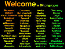 Welcome written in lots of 60 different langua Royalty Free Stock Photography