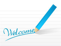 Welcome written on a pice of paper. illustration Stock Photos