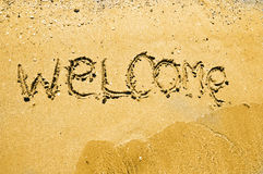 Welcome written on sand Royalty Free Stock Image