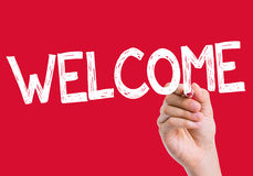 Welcome written on the wipe board Stock Image
