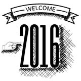 Welcome 2016 year vector sketch Stock Image