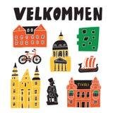 Welcomein duński Velkommen Śmieszna ręka rysująca ilustracja różni Copenhagen przyciągania wektor ilustracji