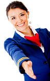 Welcoming air hostess Stock Photography
