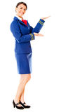 Welcoming air hostess Stock Image