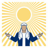 Welcoming Arab against a bright sun Stock Photo