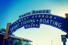 Welcoming arch in Santa Monica pier Stock Images