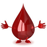 Welcoming blood drop character Royalty Free Stock Photo