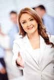 Welcoming business woman Stock Photos