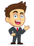 Welcoming Businessman. Clipart Picture of a Welcoming Male Businessman Cartoon Character Royalty Free Stock Photo