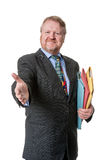 Welcoming businessman with folders - on white Royalty Free Stock Photos