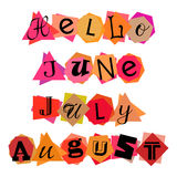 Welcoming card with lettering for summer months Stock Photo