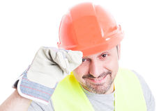Welcoming concept with handsome builder in closeup Stock Photography