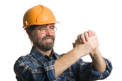 Welcoming construction worker Royalty Free Stock Photography