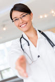 Welcoming doctor Royalty Free Stock Images
