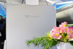 Welcoming entryway of Boeing 787 Dreamliner at Singapore Airshow 2012 Stock Images