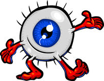 Welcoming Eyeball. Vector cartoon Eyeball character in a welcoming or presenting pose. Hand drawn artwork in loose, expressive style with NO gradients or blends stock illustration