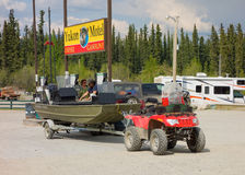A welcoming gas island at teslin, yukon territories Stock Photography