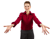 Welcoming gesture. Young caucasian businesswoman welcoming gesture Royalty Free Stock Images