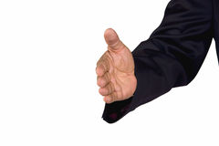 Welcoming hand. A hand of a senior African-American businessman reached out for a welcoming handshake, isolated on white background Stock Photo
