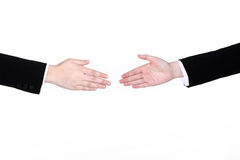 Welcoming hands. Business woman hands welcoming on white background Royalty Free Stock Photo