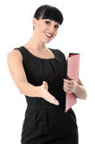 Welcoming Happy Professional Woman Holding a File Stock Images