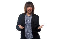 Welcoming man in black jacket Stock Photography