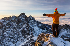 Welcoming a new day in Tatras Royalty Free Stock Image