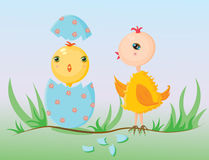 Welcoming the newborn chicken. Illustration of a baby chick just hatched out of a decorated with flowers easter egg. A bigger chicken, probably its sibling is Stock Photos