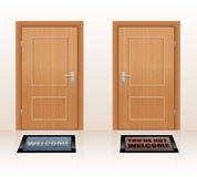 Welcoming Not Welcome Doors. WELCOMING CULTURE - symbolically depicted with two doormats saying WELCOME and YOU'RE NOT WELCOME as a symbol for hospitality and vector illustration