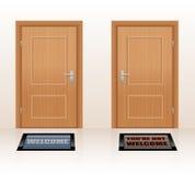 Welcoming Not Welcome Doors Stock Image