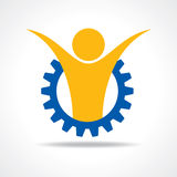 Welcoming person concept. man icon in gear wheel Royalty Free Stock Image