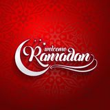 Welcoming Ramadan greeting card on eastern oriental red background.  royalty free illustration