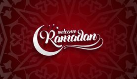 Welcoming Ramadan greeting card on eastern oriental red background.  stock illustration