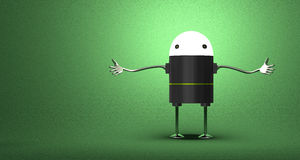 Welcoming robot with glowing head. Black plastic body, metallic arms and legs on green textured background Stock Photography