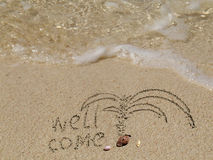 Welcoming sandy  beach  Stock Photos